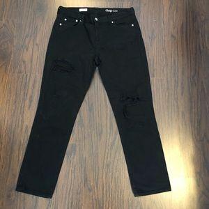 Gap 1969 Girlfriend Jeans Black Distressed Size 30